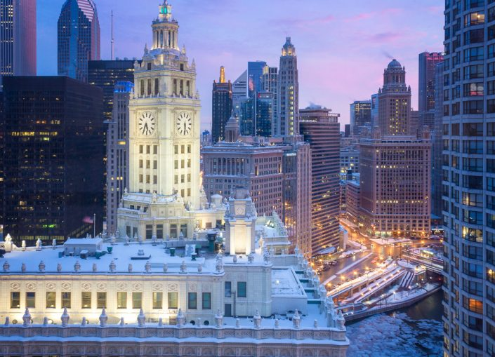 Wrigley building in Chicago after snowstorm