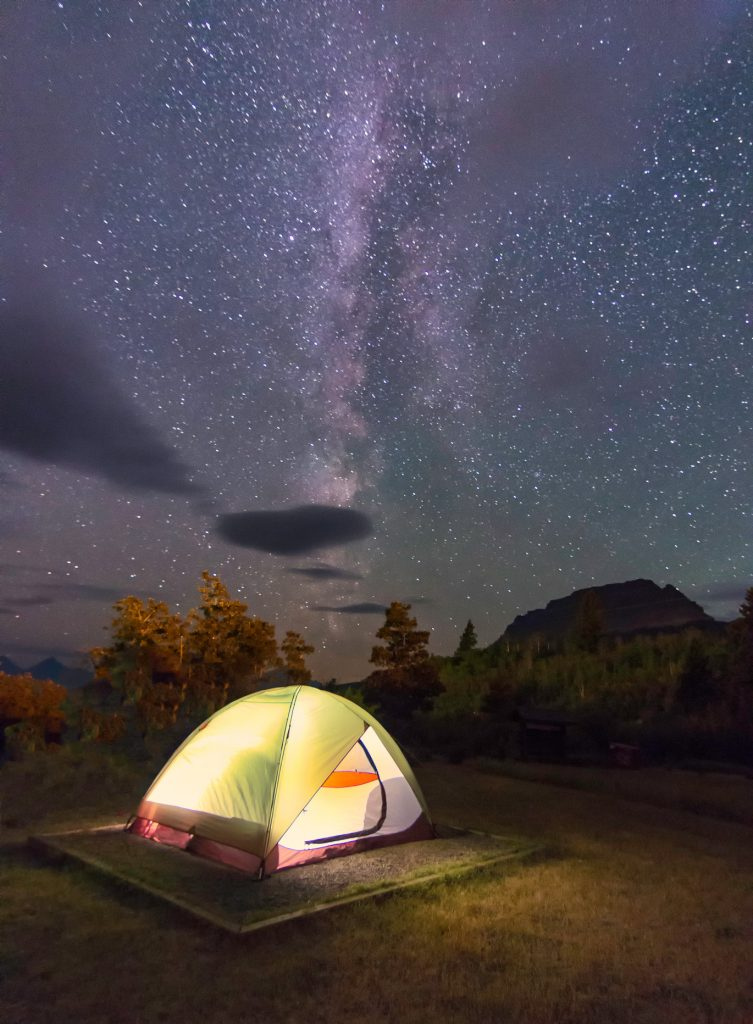The night of the million stars.Milky way shines bright at glacier national park.