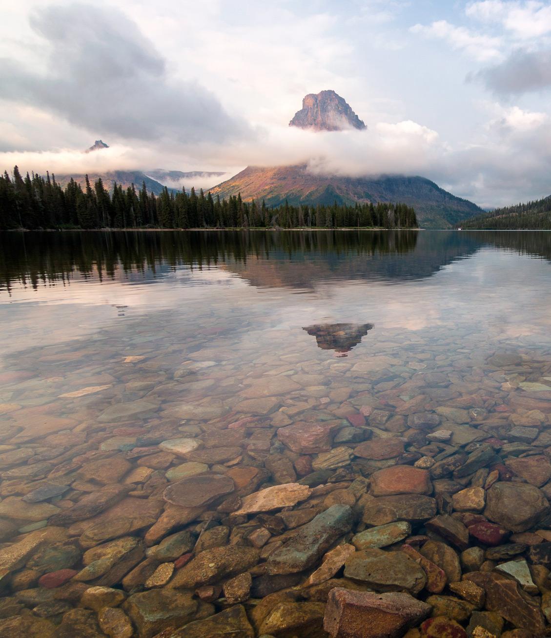 Two medicine lake and multicolored rocks
