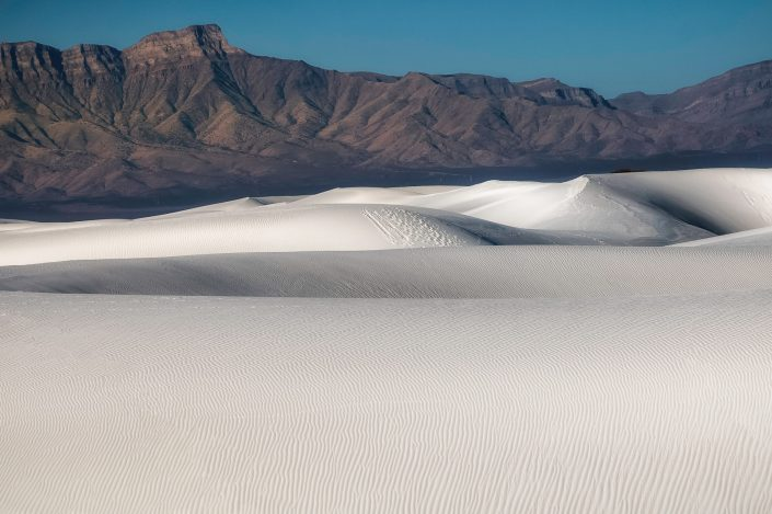 White sands and the dark mountain, White Sands, New Mexico