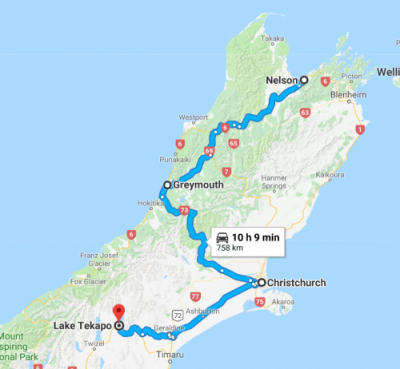 Our plan from Nelson to Lake Tekapo