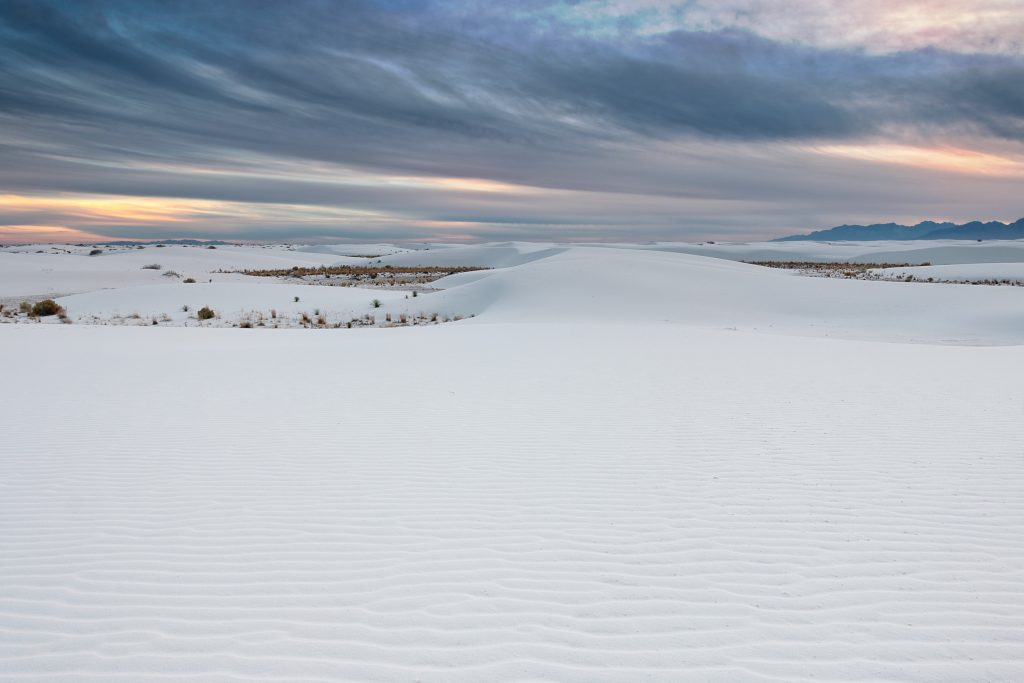 Late evening sky at white sands. Look at the brilliant white color!
