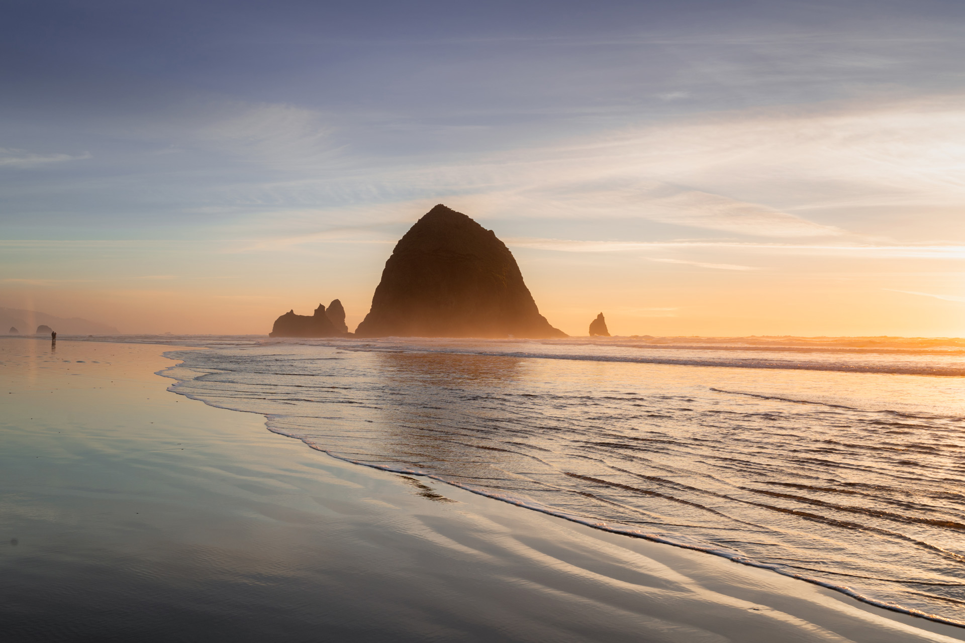 Sunset at Haystack rock, Cannon Beach OR