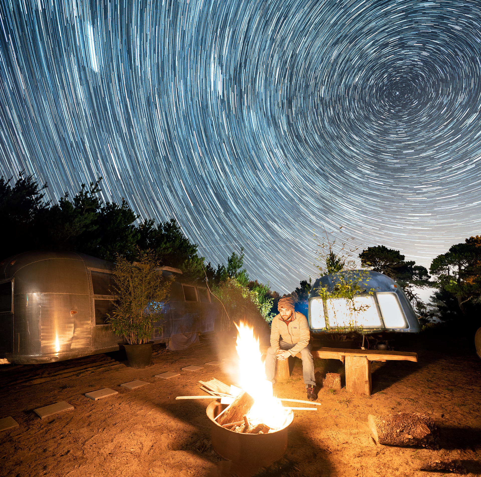 Star Trails @Exploding Whale Beach Camp, Heceta Oregon
