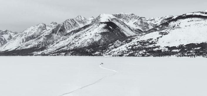 Fishing in snow